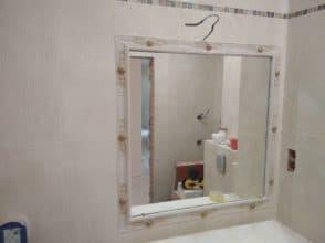 Осветленное зеркало для ванной 800х800 с фацетом 10 мм