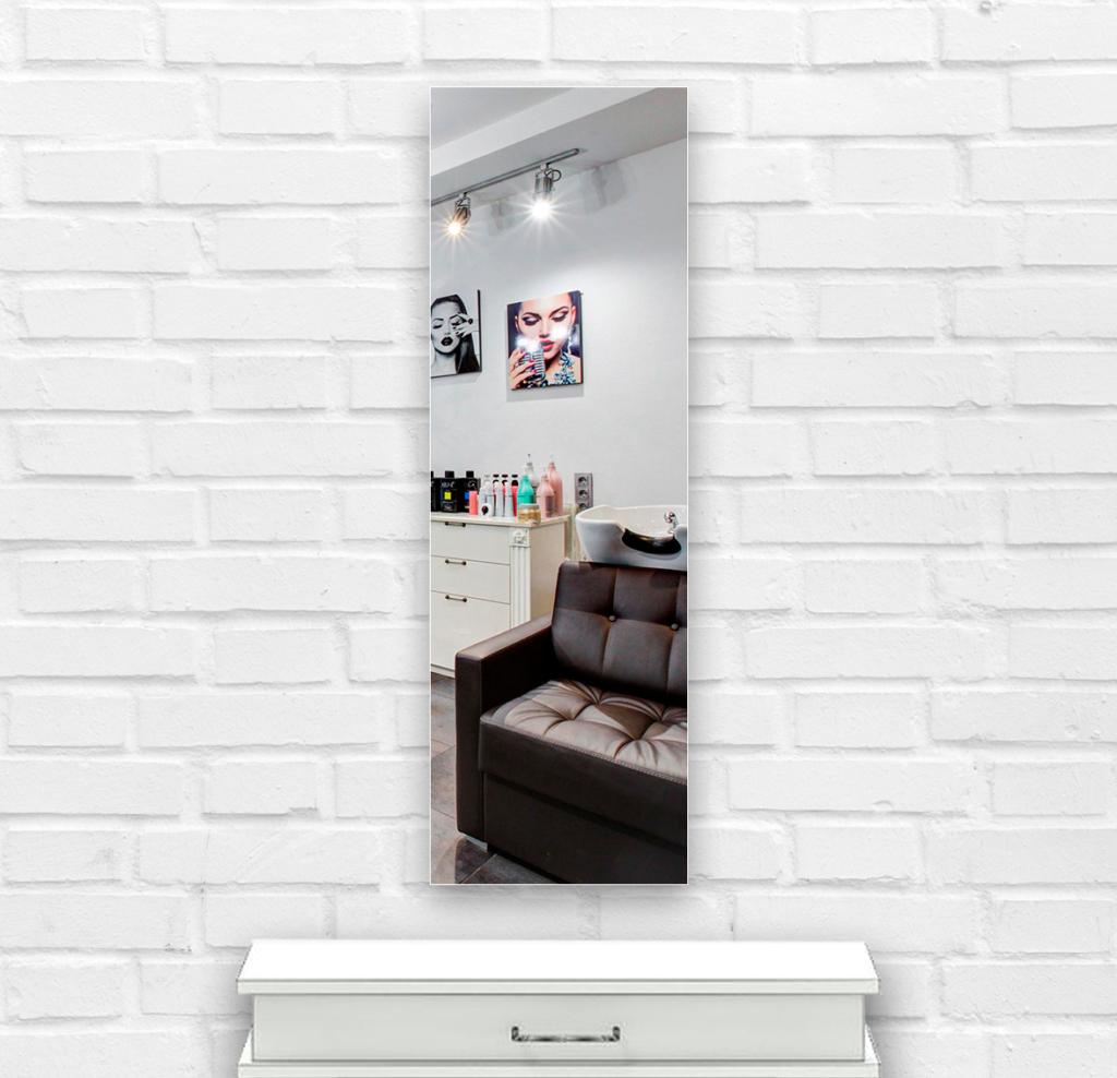 Зеркало в парикмахерскую 400×1400 мм с фацетом 25 мм и с отверстиями для крепления