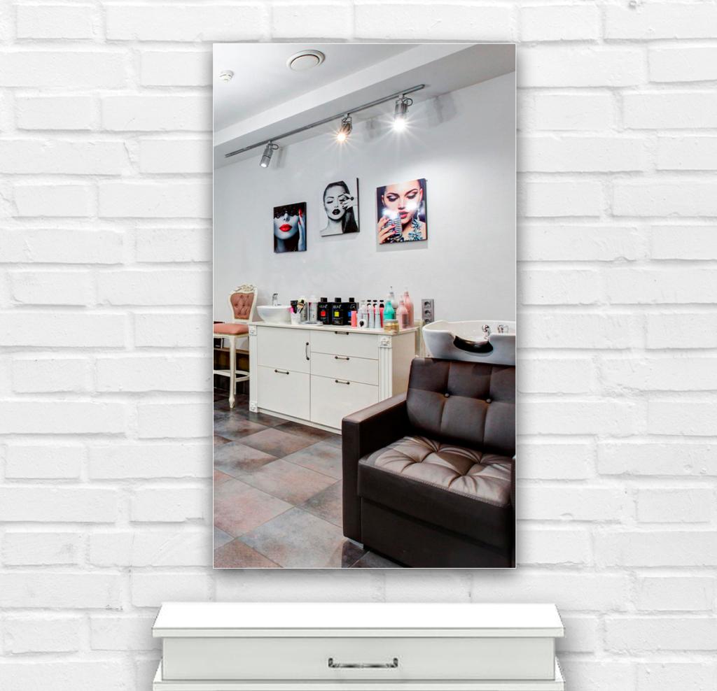 Зеркало в парикмахерскую 400×700 мм с фацетом 25 мм и скрытым креплением
