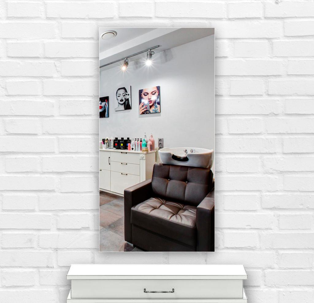 Зеркало в парикмахерскую 400×800 мм с фацетом 20 мм, отверстиями для крепления и противоосколочной пленкой