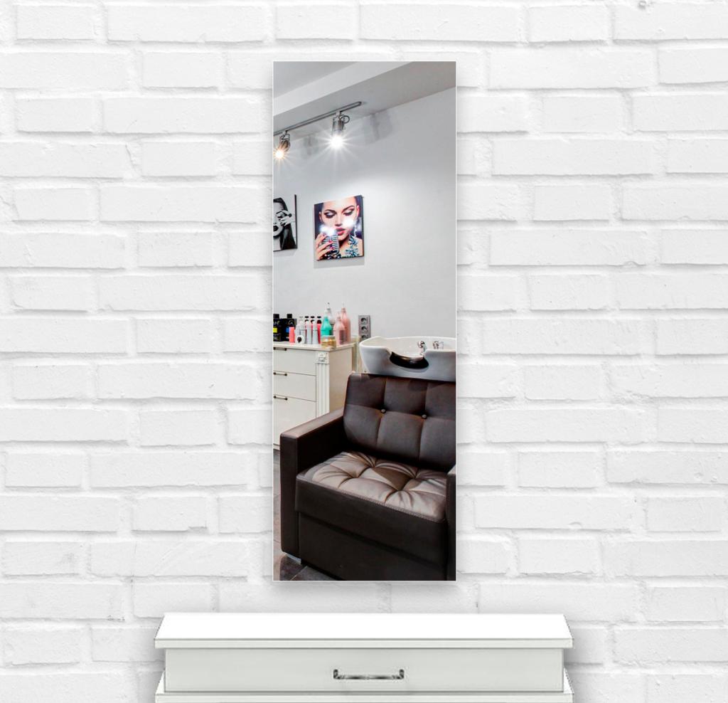 Зеркало в парикмахерскую 400×1200 мм с фацетом 25 мм и скрытым креплением
