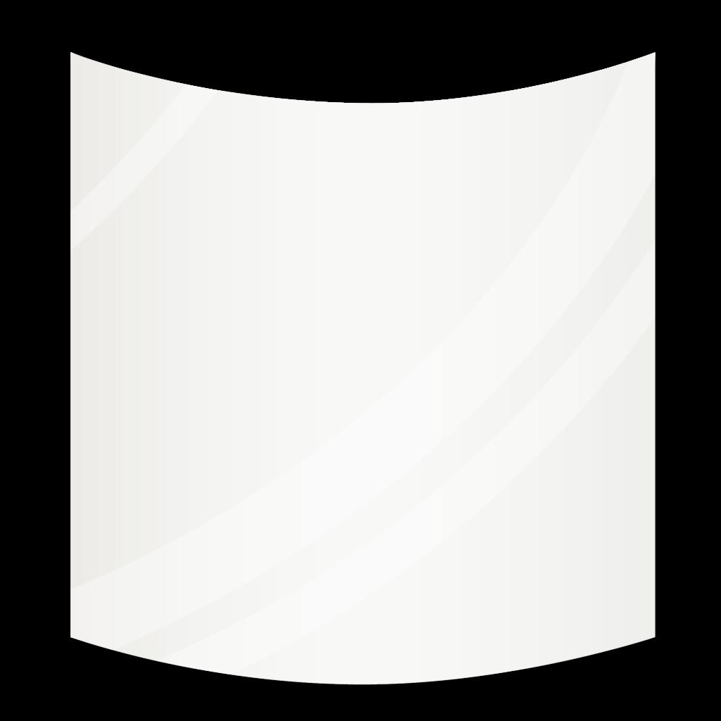 Зеркало с радиусными углами 1000×1100 мм осветленное с еврокромкой и с отверстиями для крепления и противоосколочной пленкой