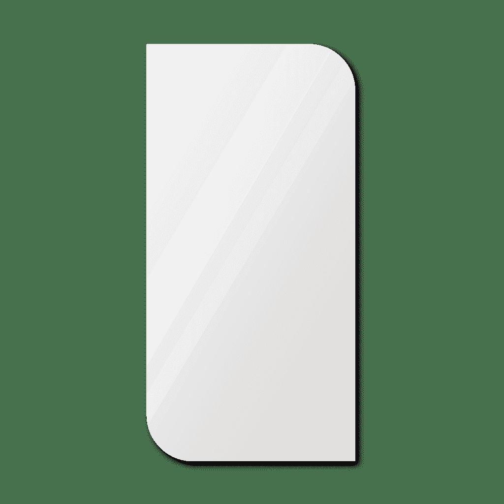 Фигурное зеркало 800×400 мм с еврокромкой и креплением на клей