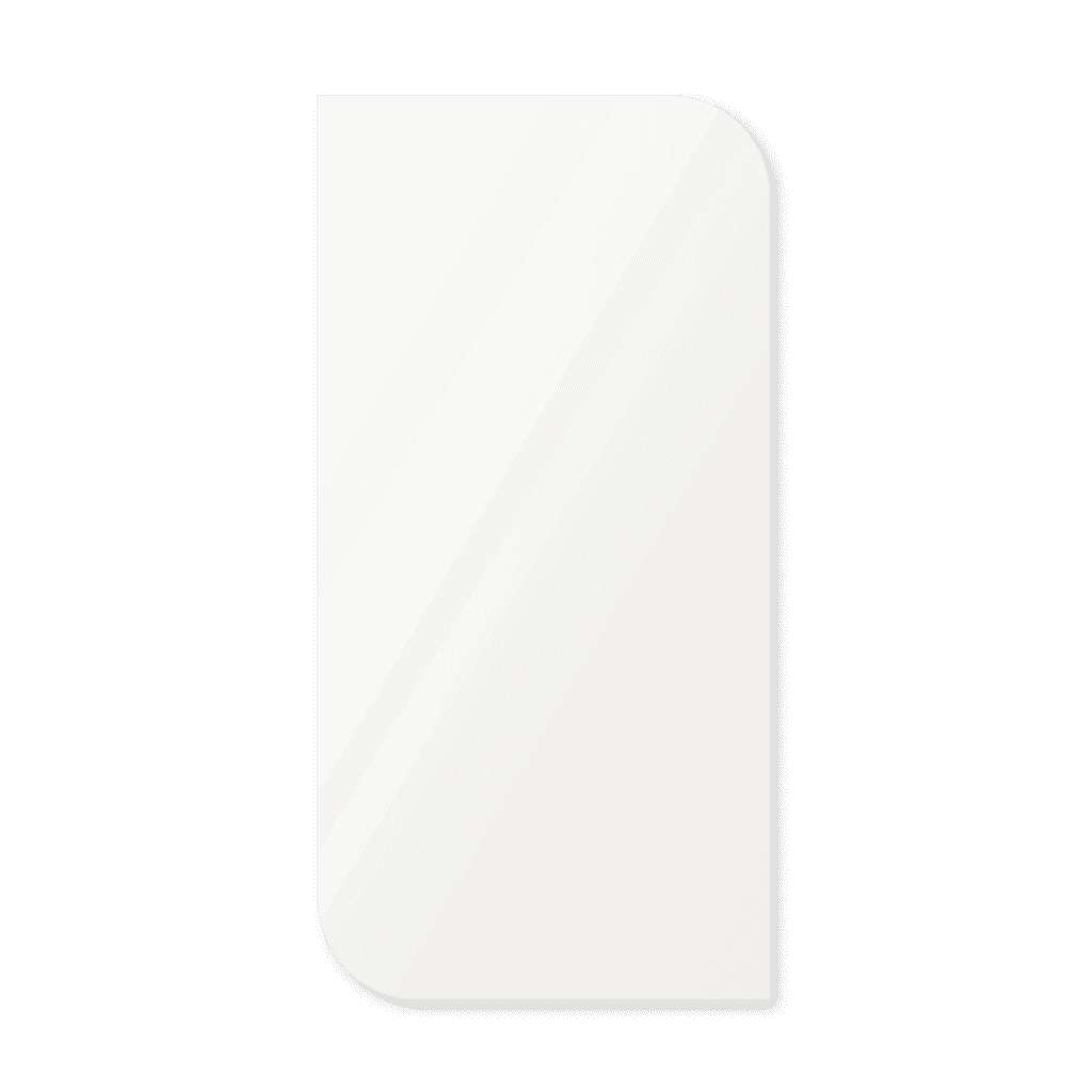 Фигурное зеркало 800×400 мм осветленное с еврокромкой и креплением на клей