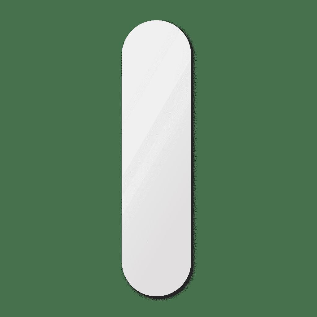 Фигурное зеркало 1200×400 мм с еврокромкой и креплением на клей