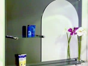 Зеркало в форме арки с полками для ванной