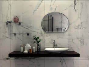 Настенное радиусное зеркало для ванной