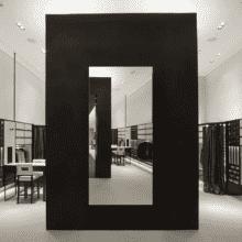 Зеркало для магазина 400×900 мм с еврокромкой и креплением на клей