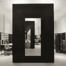 Зеркало для магазина 500×1200 мм с еврокромкой и креплением на клей