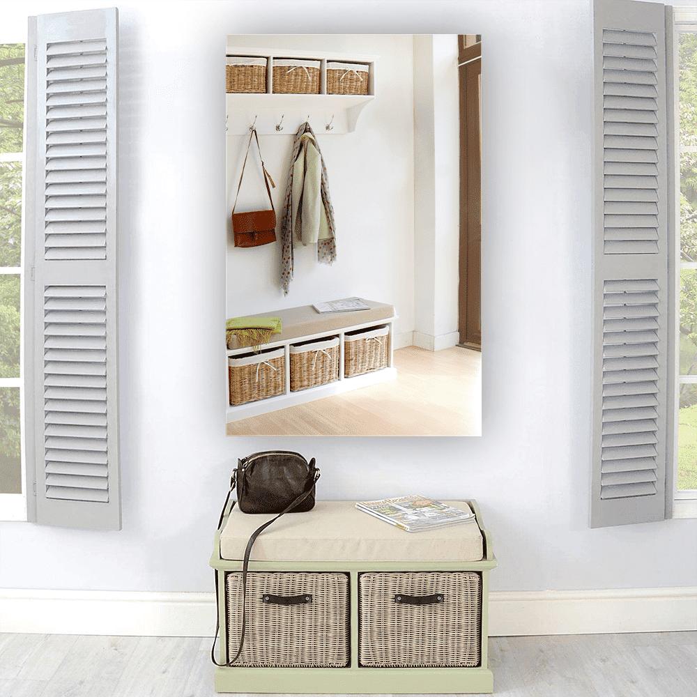 Зеркало в прихожую 900×1400 мм с полированной кромкой, отверстиями для крепления и противоосколочной пленкой
