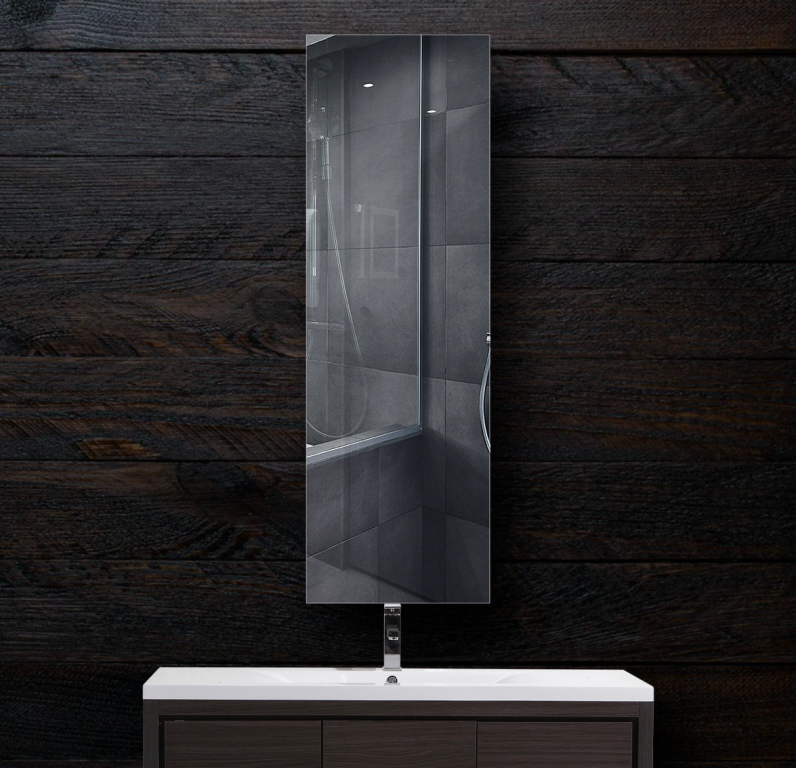 Зеркало в ванную 300×1000 мм с фацетом 5 мм и отверстиями для крепления