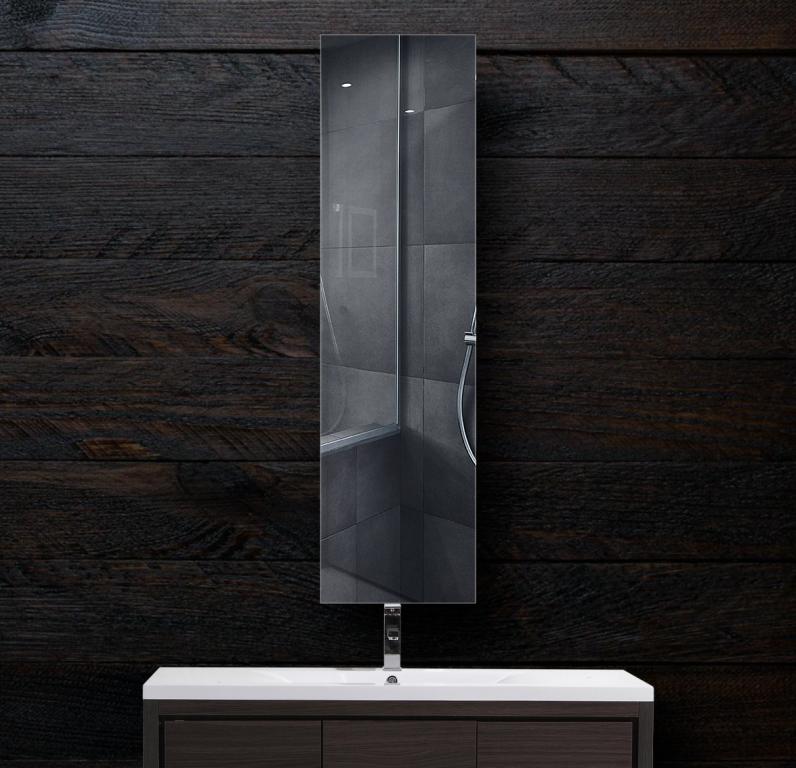 Зеркало в ванную 300×1200 мм с полированной кромкой и с отверстиями для крепления