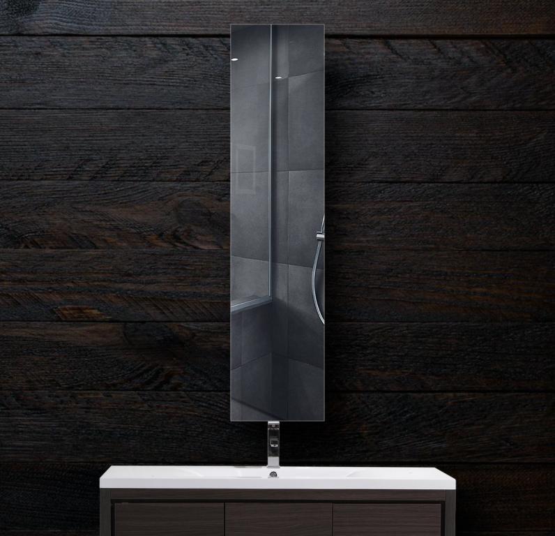 Зеркало в ванную 300×1400 мм с фацетом 20 мм и креплением на клей