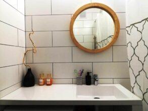 Круглое зеркало в деревянной раме, диаметр 400-499мм