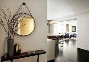 Круглое осветленное зеркало в раме из экокожи, диаметр 400-499мм