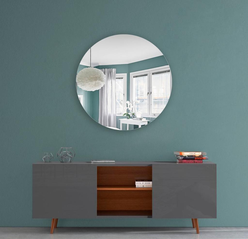 Круглое зеркало диаметром 490 мм с еврокромкой для монтажа на клей