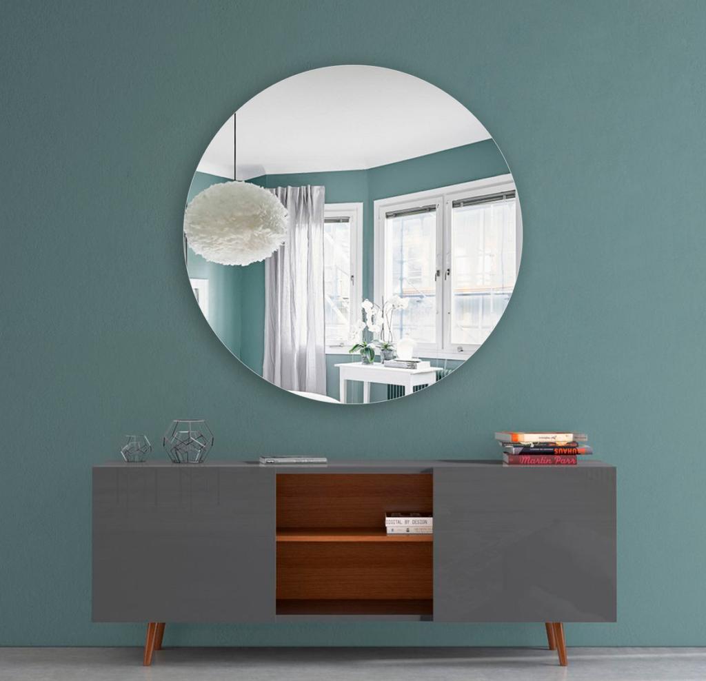 Круглое зеркало диаметром 850 мм с фацетом 20 мм осветленные со скрытым креплением