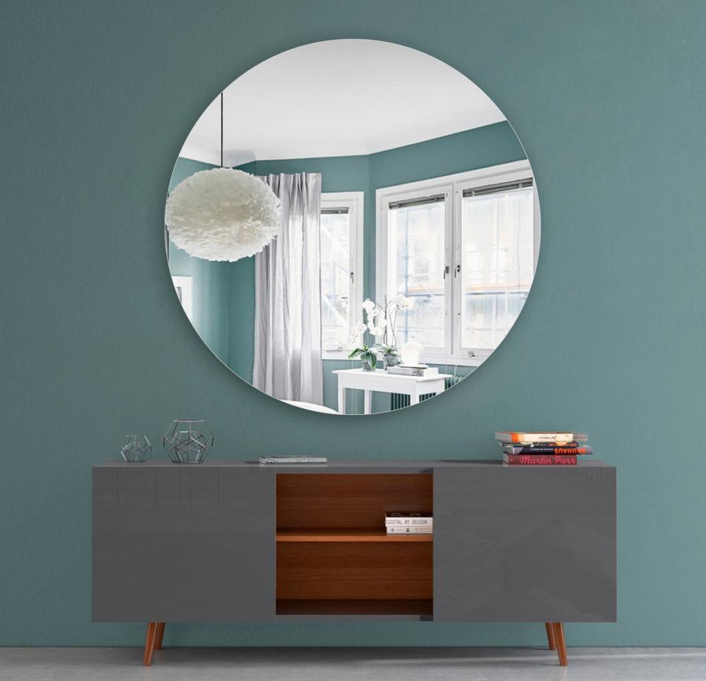 Круглое зеркало диаметром 1090 мм с фацетом 20 мм для монтажа на клей