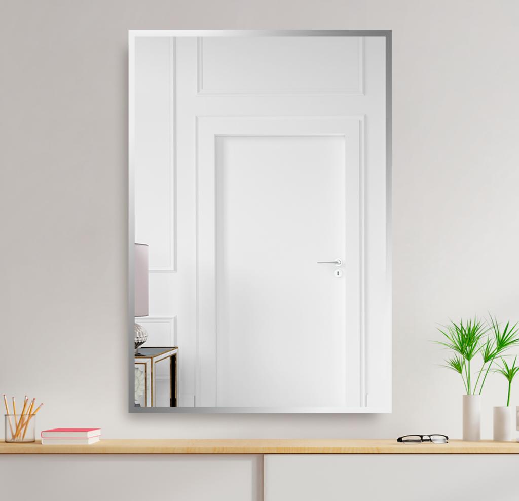 Зеркало 400×600 мм с фацетом 15 мм в алюминиевой раме