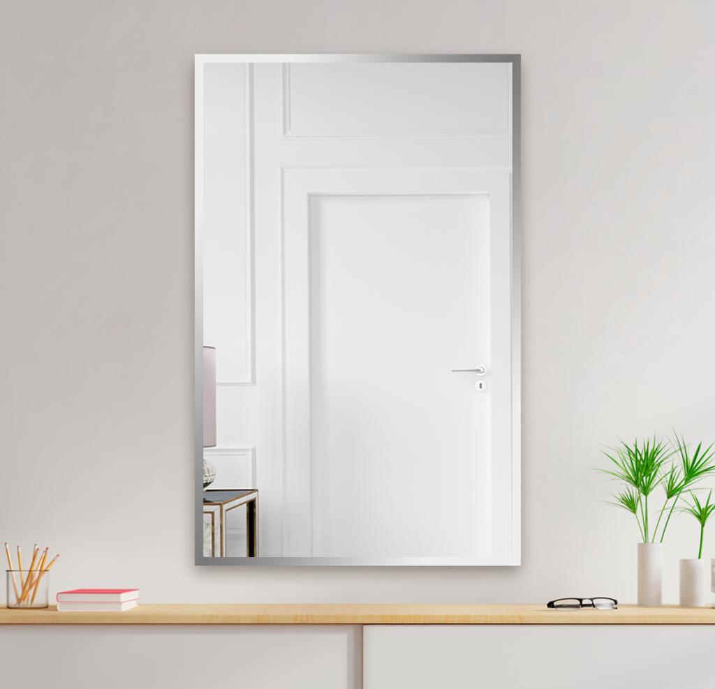 Зеркало 900×1400 мм с полированной кромкой в алюминиевой раме