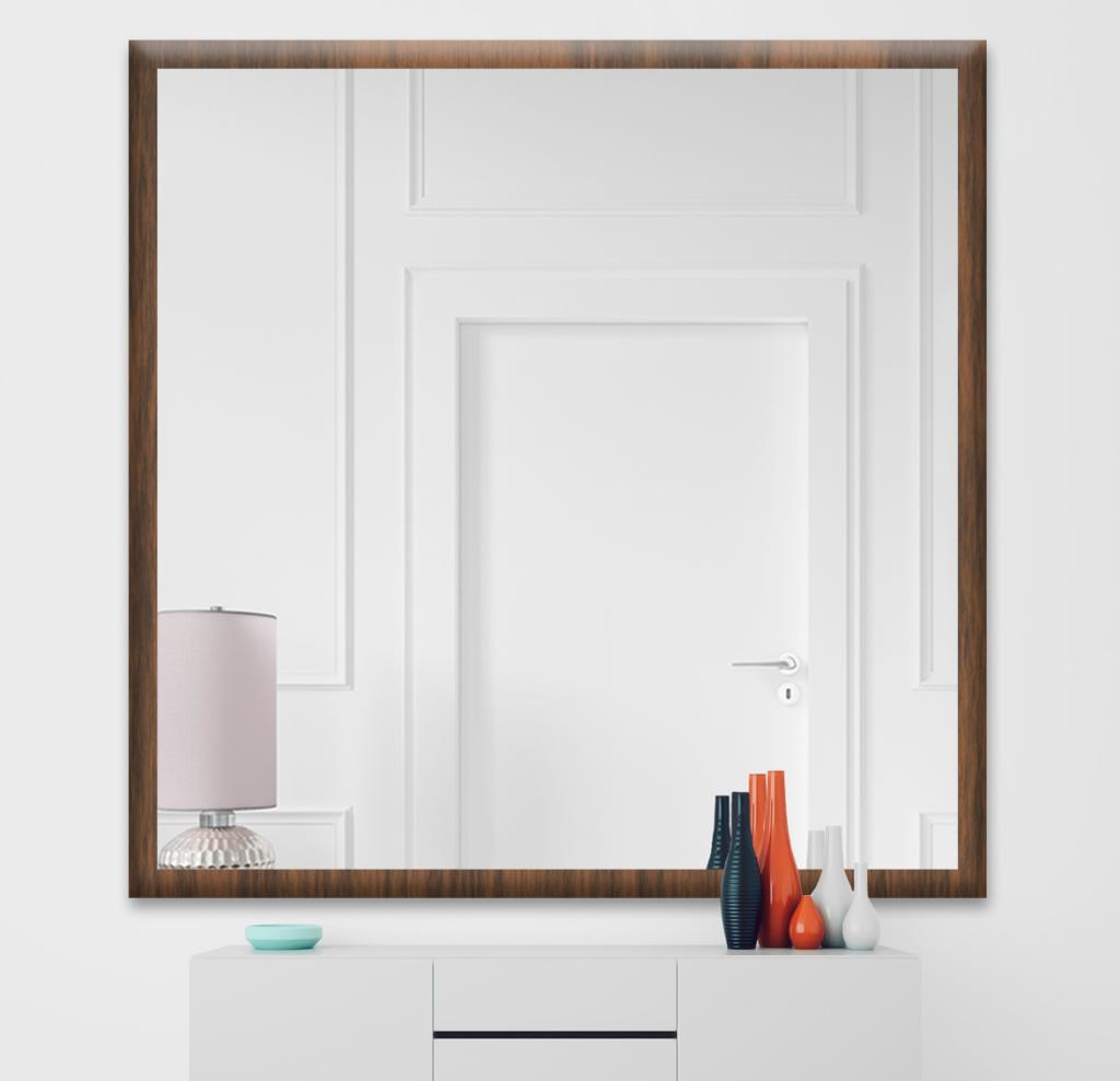 Зеркало 800×800 мм осветленное в деревянной раме